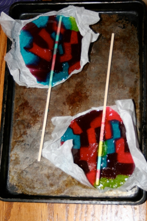 lolipops baked/melted with sticks inserted