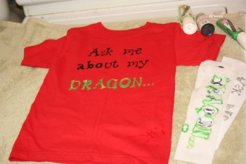Ask me about my dragon freezer paper stencils and fabric paint