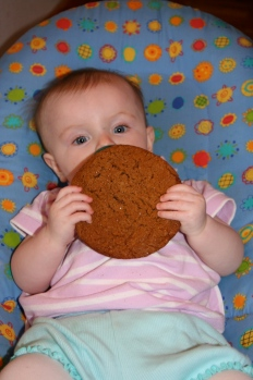 baby L with a jumbo molasses cookie