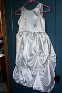 white satin dress before